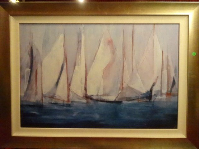 LARGE ENHANCED GICLEE ON BOARD, SAILBOATS, ARTIST