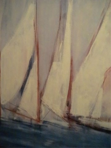 LARGE ENHANCED GICLEE ON BOARD, SAILBOATS, ARTIST - 3