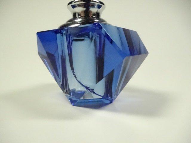 MURANO STYLE ART GLASS PERFUME BOTTLE, BLUE & CLEAR - 10