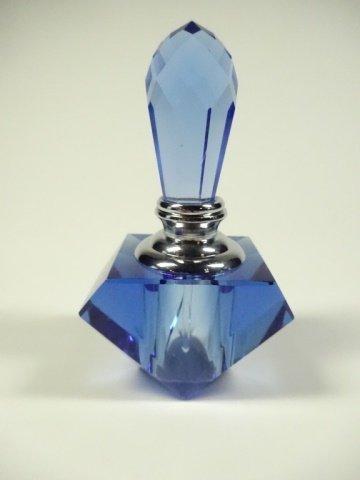 MURANO STYLE ART GLASS PERFUME BOTTLE, BLUE & CLEAR