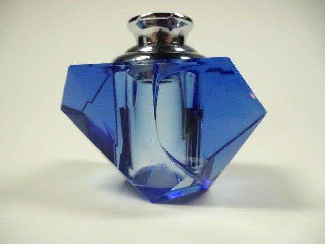 MURANO STYLE ART GLASS PERFUME BOTTLE, BLUE & CLEAR - 4