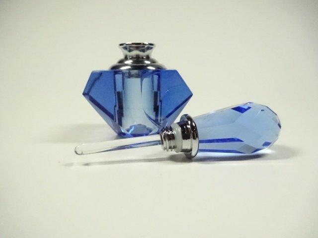 MURANO STYLE ART GLASS PERFUME BOTTLE, BLUE & CLEAR - 9