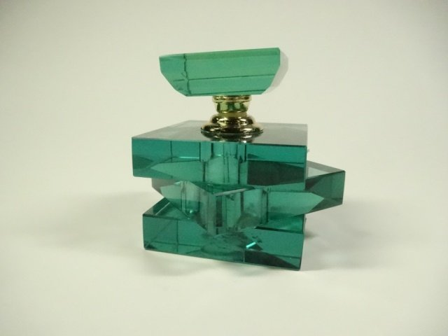 MURANO STYLE ART GLASS PERFUME BOTTLE, STACKED GREEN - 3