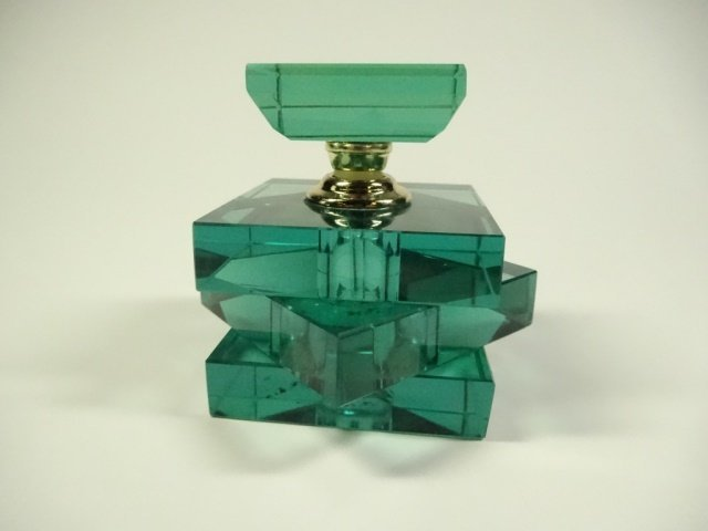 MURANO STYLE ART GLASS PERFUME BOTTLE, STACKED GREEN - 4