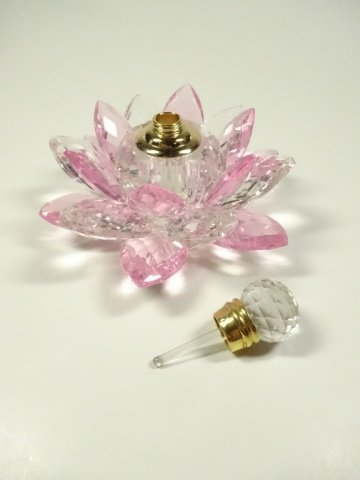 MURANO STYLE ART GLASS PERFUME BOTTLE, PINK & CLEAR - 5