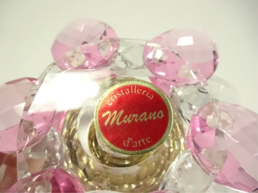 MURANO STYLE ART GLASS PERFUME BOTTLE, PINK & CLEAR - 6