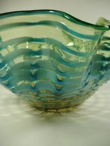 MURANO STYLE ART GLASS BOWL, RIPPLE DESIGN WITH GREEN & - 3