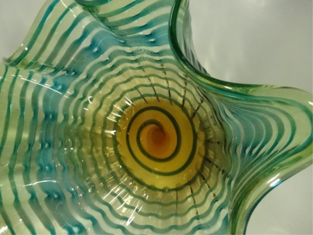 MURANO STYLE ART GLASS BOWL, RIPPLE DESIGN WITH GREEN & - 4