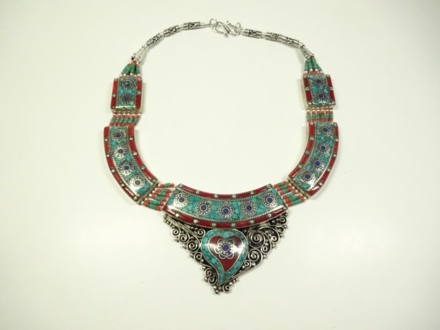 TURQUOISE, LAPIS & CORAL NECKLACE, CHOKER STYLE - 2
