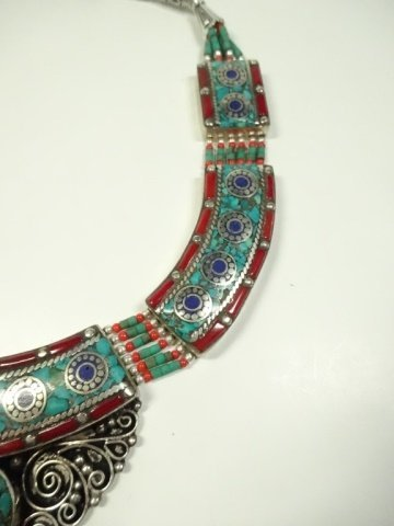 TURQUOISE, LAPIS & CORAL NECKLACE, CHOKER STYLE - 4