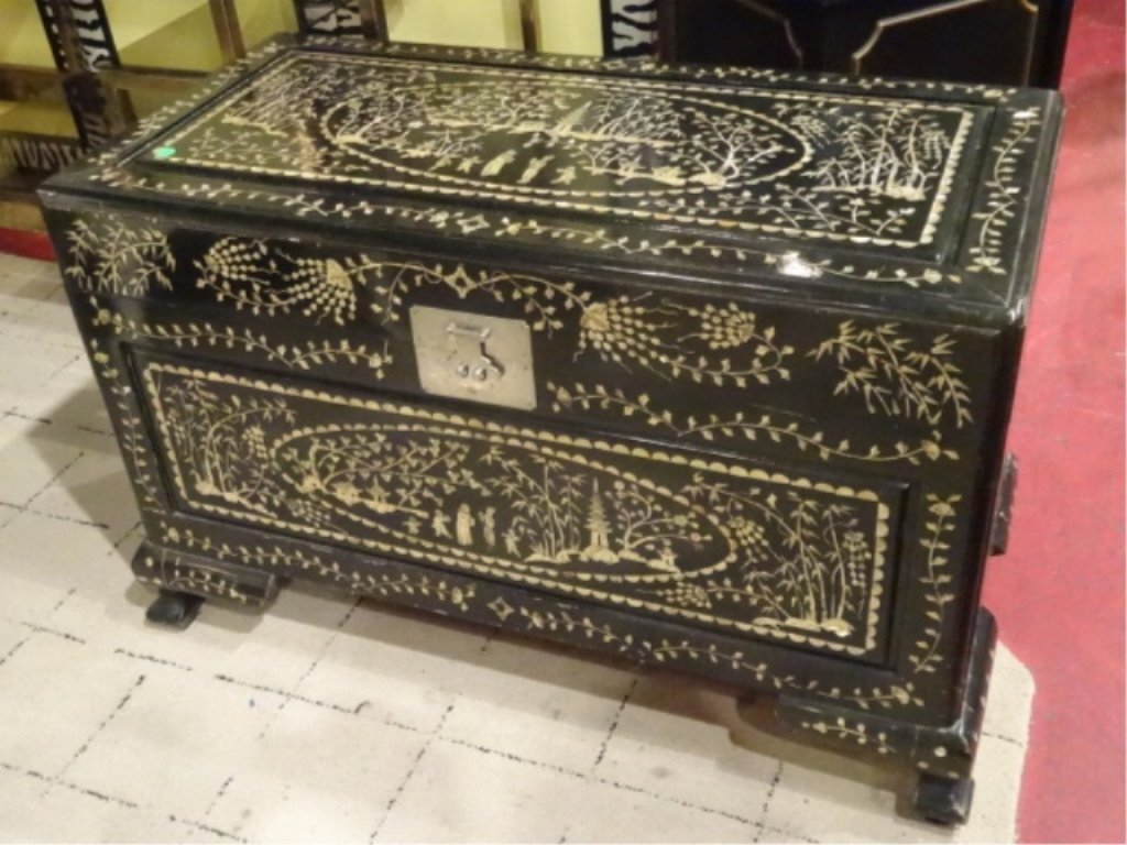 LARGE CHINESE MOTHER OF PEARL INLAID CHEST, INTRICATE