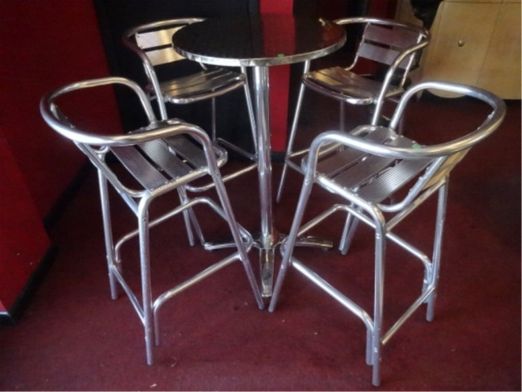 5 PC ALUMINUM BISTRO TABLE AND 4 BARSTOOLS, BY FLORIDA