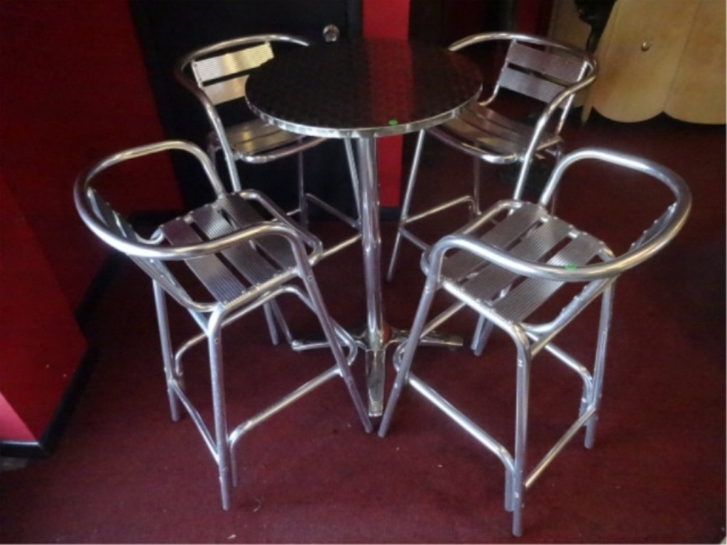 5 PC ALUMINUM BISTRO TABLE AND 4 BARSTOOLS, BY FLORIDA - 2