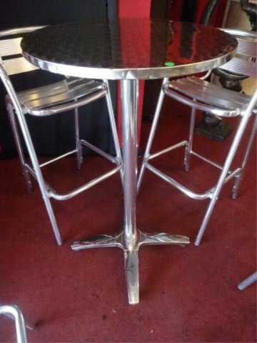 5 PC ALUMINUM BISTRO TABLE AND 4 BARSTOOLS, BY FLORIDA - 3