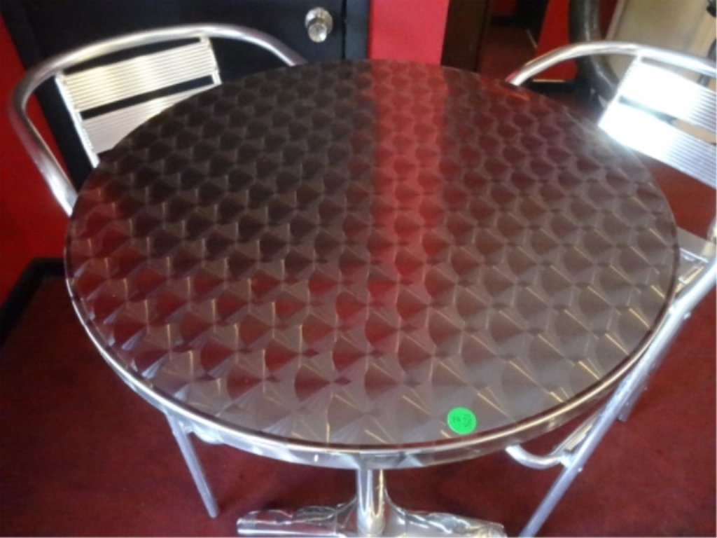 5 PC ALUMINUM BISTRO TABLE AND 4 BARSTOOLS, BY FLORIDA - 4