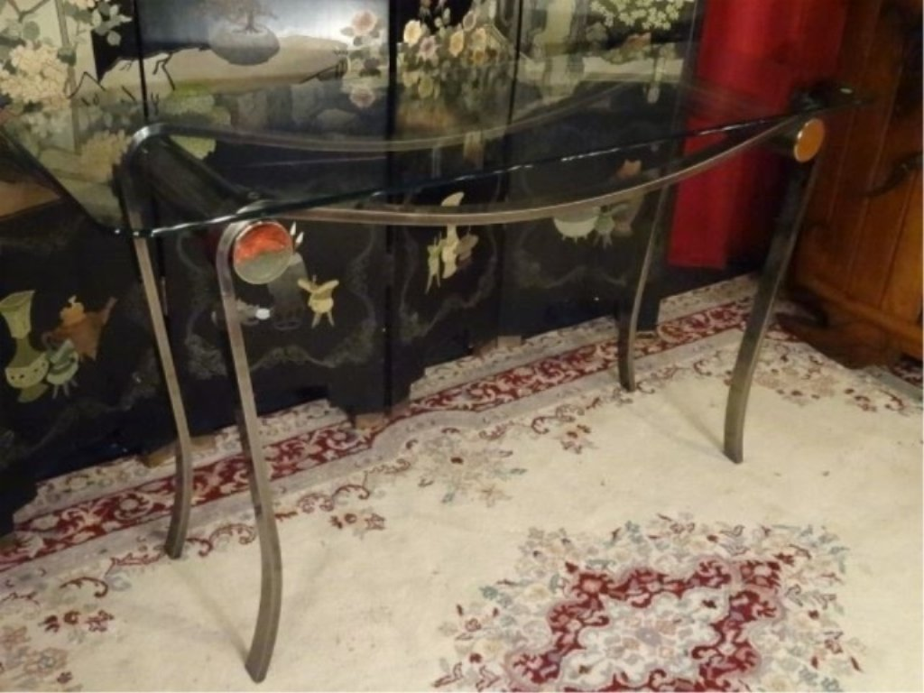 MODERN METAL AND GLASS CONSOLE TABLE, CURVED STEEL BASE