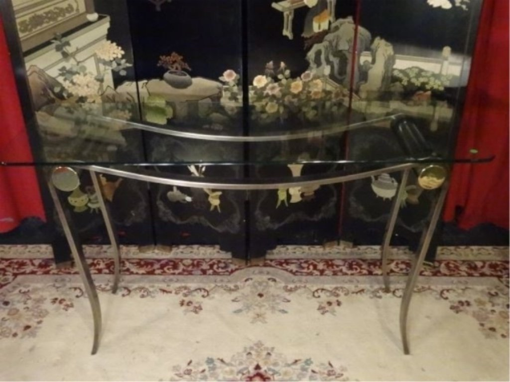 MODERN METAL AND GLASS CONSOLE TABLE, CURVED STEEL BASE - 2
