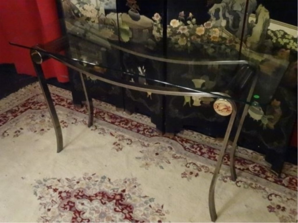 MODERN METAL AND GLASS CONSOLE TABLE, CURVED STEEL BASE - 3