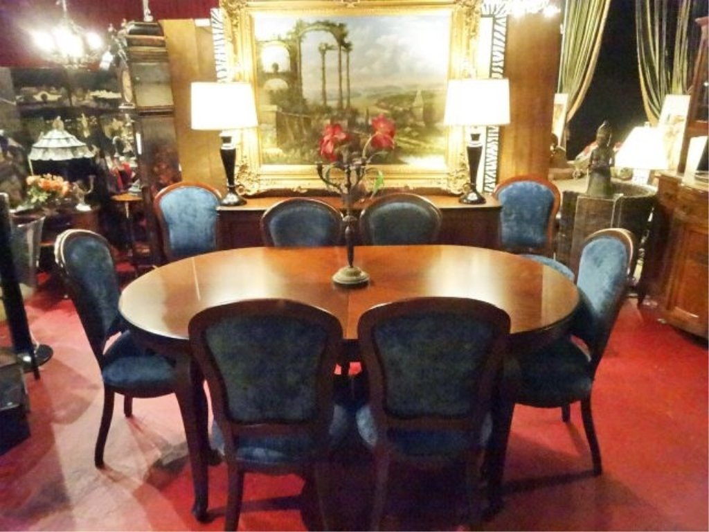OVAL DINING TABLE WITH 8 CHAIRS AND ONE LEAF, DARK