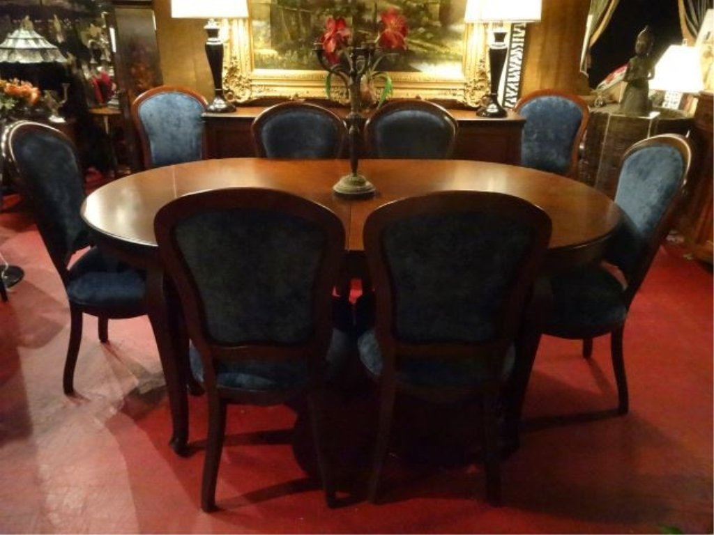 OVAL DINING TABLE WITH 8 CHAIRS AND ONE LEAF, DARK - 2