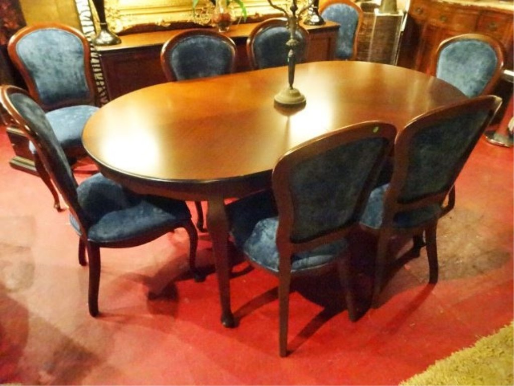 OVAL DINING TABLE WITH 8 CHAIRS AND ONE LEAF, DARK - 3