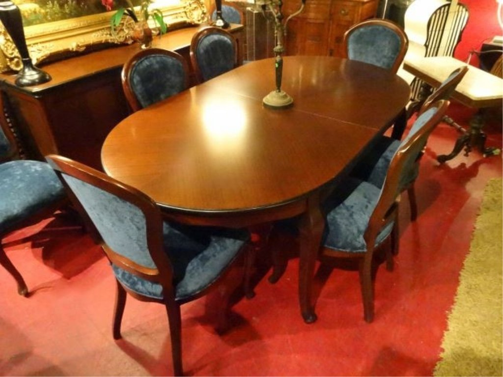 OVAL DINING TABLE WITH 8 CHAIRS AND ONE LEAF, DARK - 4
