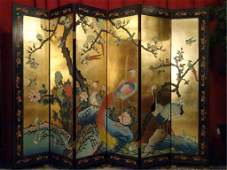 CHINESE CORMOMANDEL SCREEN, GOLD GILT AND PAINTED, 6