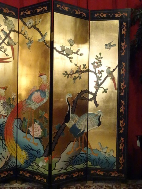 CHINESE CORMOMANDEL SCREEN, GOLD GILT AND PAINTED, 6 - 3