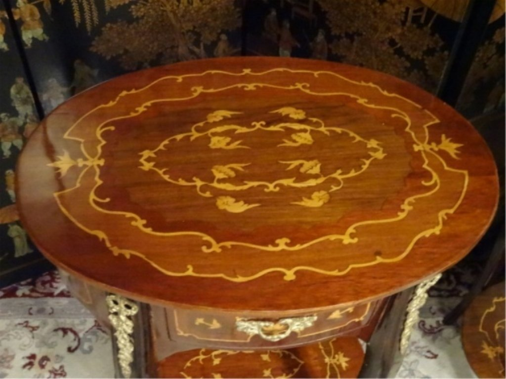PAIR FRENCH EMPIRE STYLE MARQUETRY TABLES, INLAID OVAL - 10
