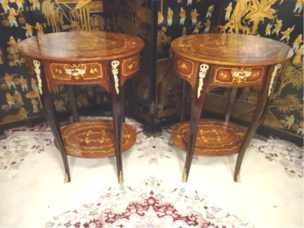 PAIR FRENCH EMPIRE STYLE MARQUETRY TABLES, INLAID OVAL