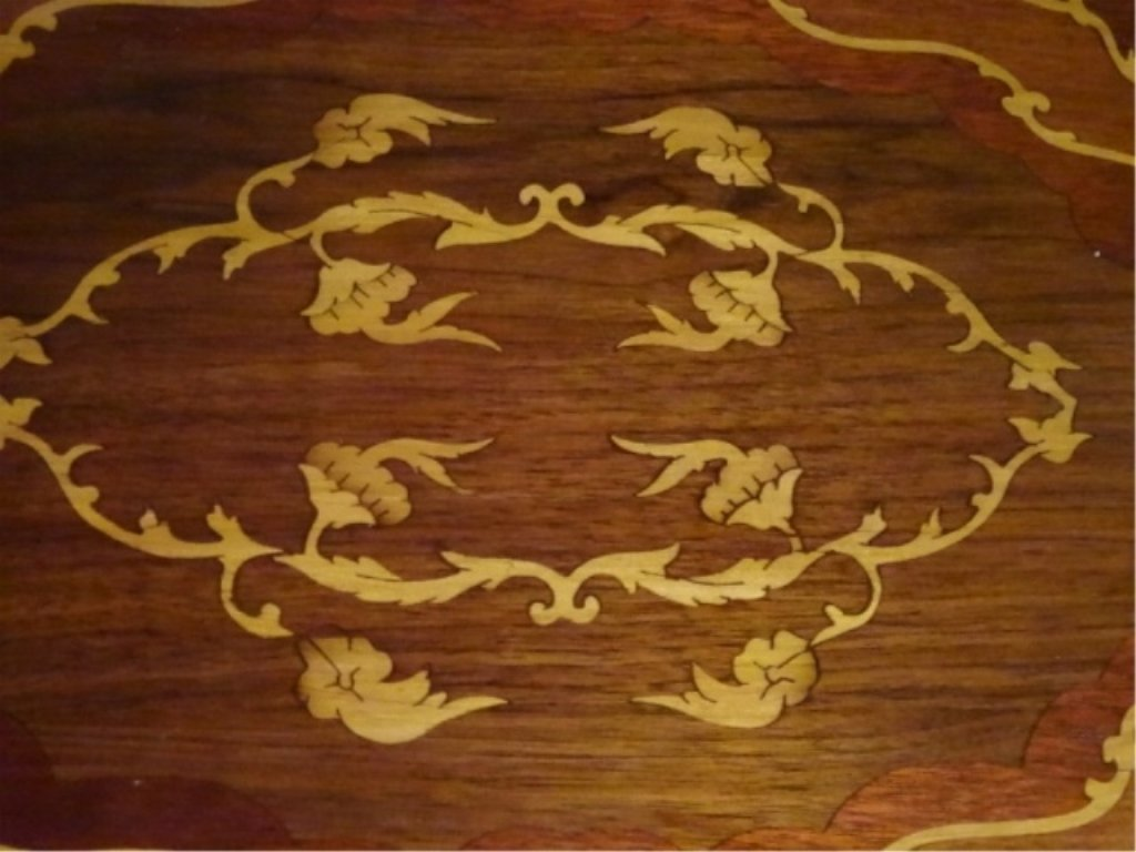 PAIR FRENCH EMPIRE STYLE MARQUETRY TABLES, INLAID OVAL - 5
