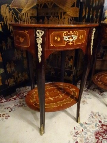 PAIR FRENCH EMPIRE STYLE MARQUETRY TABLES, INLAID OVAL - 6