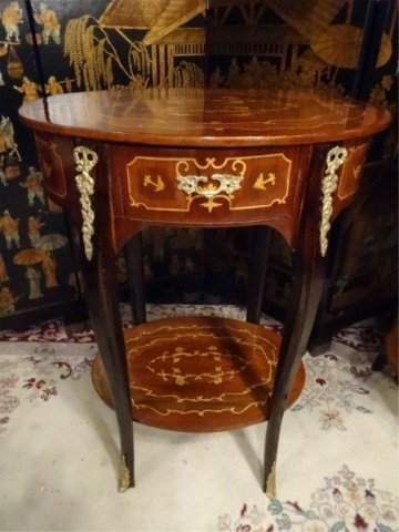 PAIR FRENCH EMPIRE STYLE MARQUETRY TABLES, INLAID OVAL - 7