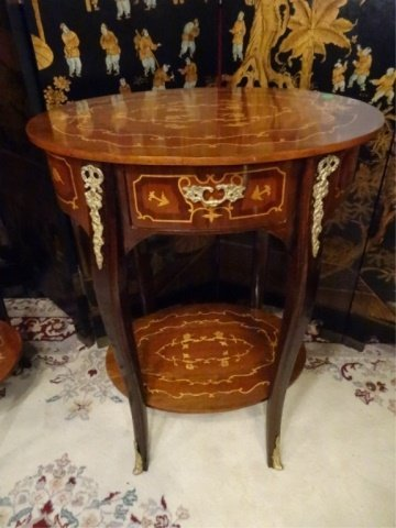 PAIR FRENCH EMPIRE STYLE MARQUETRY TABLES, INLAID OVAL - 8