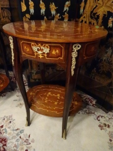 PAIR FRENCH EMPIRE STYLE MARQUETRY TABLES, INLAID OVAL - 9