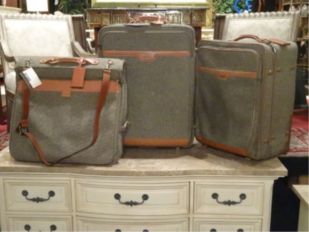 3 PC HARTMANN LUGGAGE, TWEED COLLECTION WITH LEATHER