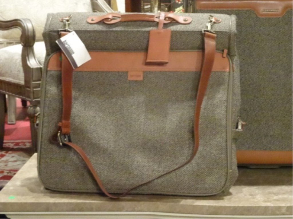 3 PC HARTMANN LUGGAGE, TWEED COLLECTION WITH LEATHER - 3