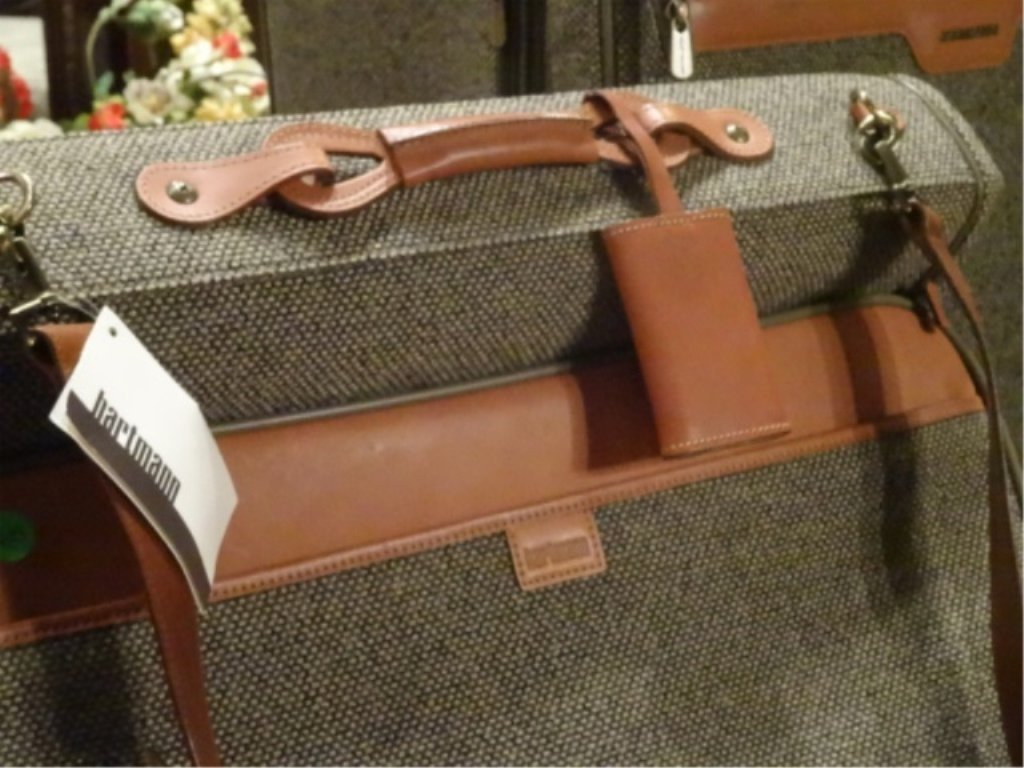 3 PC HARTMANN LUGGAGE, TWEED COLLECTION WITH LEATHER - 8