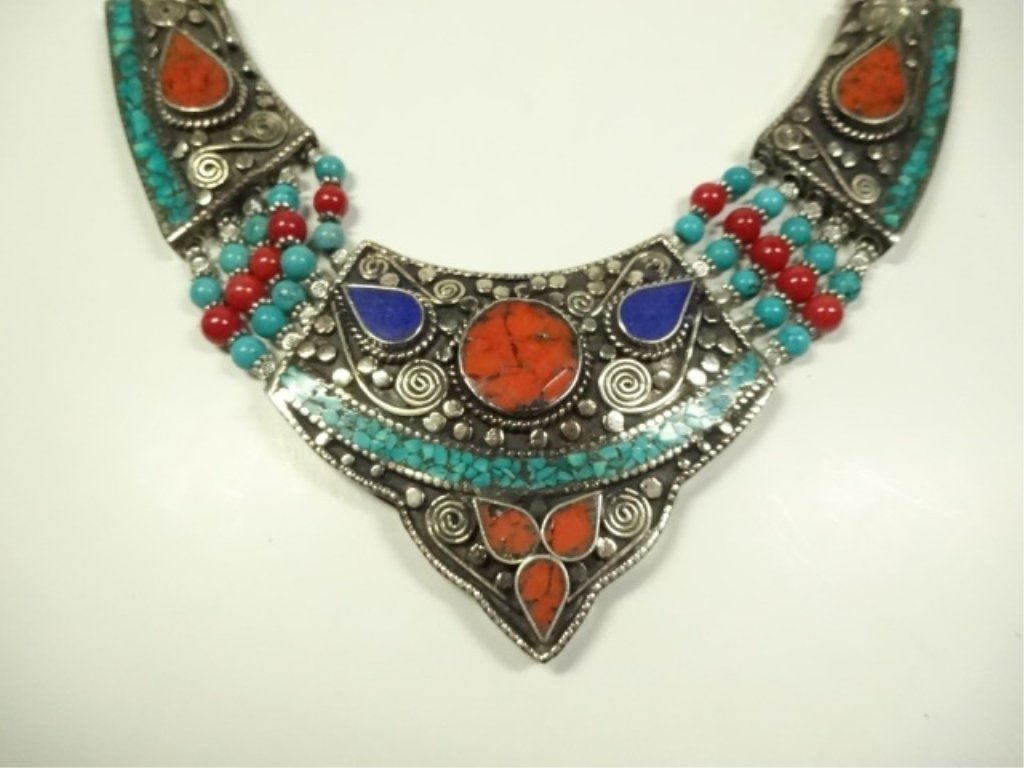 TURQUOISE, LAPIS & CORAL NECKLACE, CHOKER STYLE