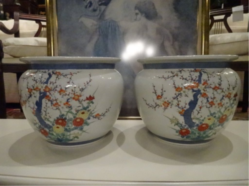 PAIR CHINESE PORCELAIN JARDINERES, WHITE WITH PAINTED