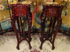 PAIR CHINESE WOOD PEDESTALS MARBLE TOPS GOOD VINTAGE