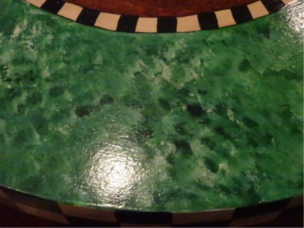 PAINTED AND DECOUPAGE COFFEE TABLE, WOOD BASE WITH - 4