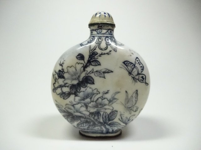 CHINESE SNUFF BOTTLE, BLUE & WHITE ENAMEL OVER COPPER, - 3