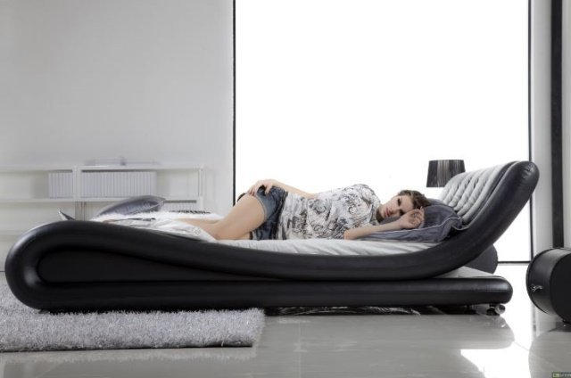 LEATHER WRAPPED IQ BED, KING SIZE, MODERN DESIGN, MADE - 7