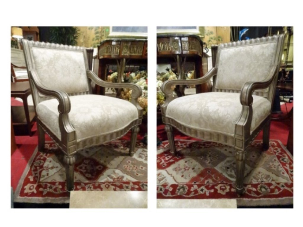 PAIR BERNHARDT LOUIS XVI STYLE ARM CHAIRS, #1 OF TWO