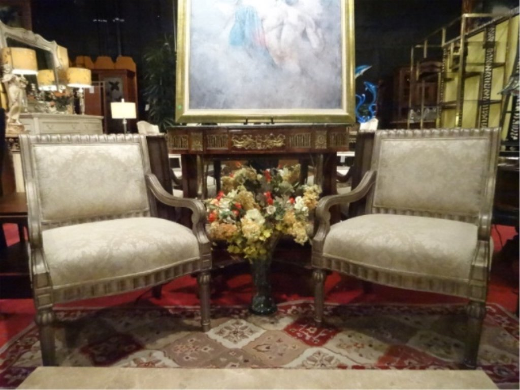 PAIR BERNHARDT LOUIS XVI STYLE ARM CHAIRS, #1 OF TWO - 6