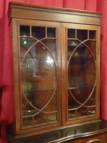 MAHOGANY CABINET, 2 GLAZED DOORS OVER 2 DOOR CABINET, - 2