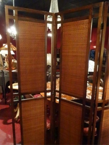 MID CENTURY MODERN 3 PANEL FLOOR SCREEN, RATTAN AND - 2