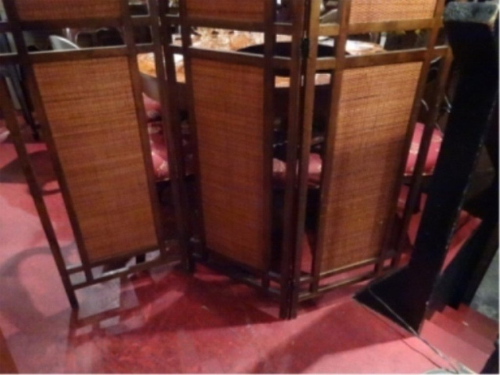 MID CENTURY MODERN 3 PANEL FLOOR SCREEN, RATTAN AND - 3