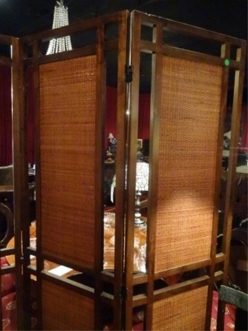 MID CENTURY MODERN 3 PANEL FLOOR SCREEN, RATTAN AND - 4